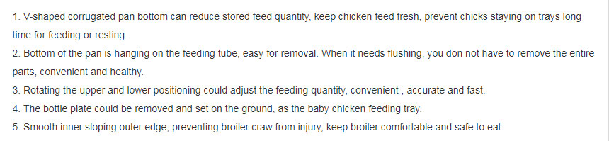 Specific sizes and types of poultry feeders for sale.